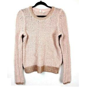 MOTH Anthro Light Pink Metallic Trim Sweater